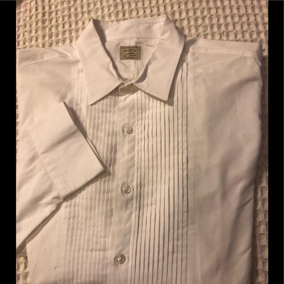 J. Crew White Pleated LS Tuxedo Shirt Size 16.5